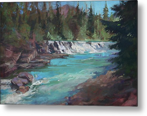 Glacier National Park Metal Print featuring the painting Sacred Dancing Cascade by Betty Jean Billups