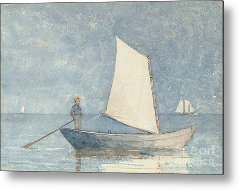 Boat Metal Print featuring the painting Sailing A Dory by Winslow Homer