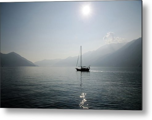 Horizontal Metal Print featuring the photograph Sailing Boat In Alpine Lake by Mats Silvan