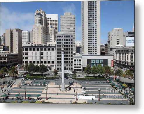 Wingsdomain Metal Print featuring the photograph San Francisco . Union Square . 5d17938 by Wingsdomain Art and Photography