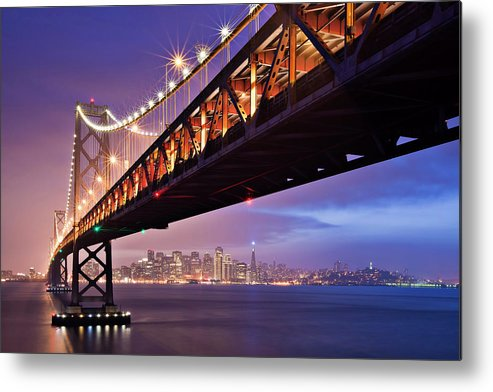 Horizontal Metal Print featuring the photograph San Francisco Bay Bridge by Photo by Mike Shaw