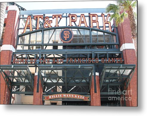 Sport Metal Print featuring the photograph San Francisco Giants Att Park Willie Mays Entrance . 7d7635 by Wingsdomain Art and Photography