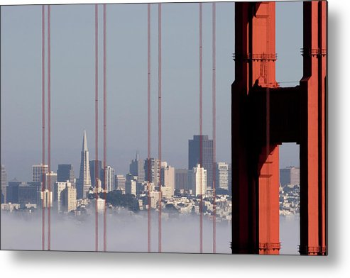 Horizontal Metal Print featuring the photograph San Francisco Skyline From Golden Gate Bridge by Mona T. Brooks