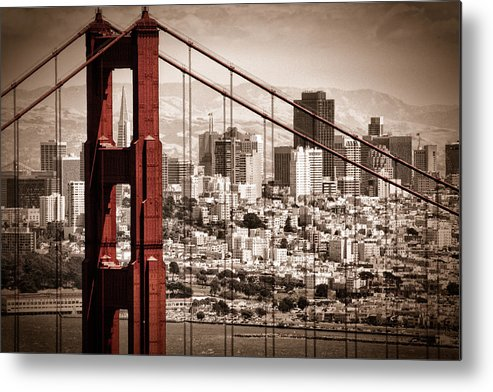 Golden Gate Metal Print featuring the photograph San Francisco Through The Bridge by Matt Trimble