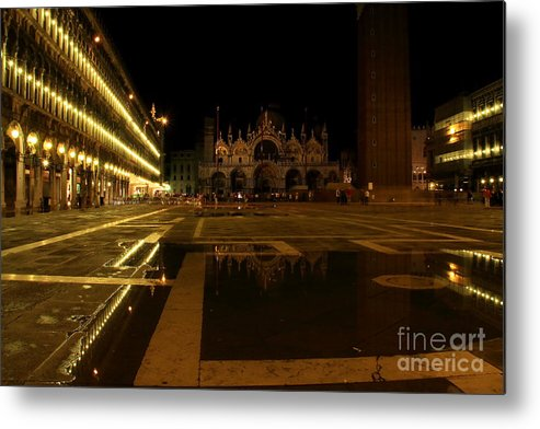 Venice Metal Print featuring the photograph San Marco In Venice At Night by Michael Henderson