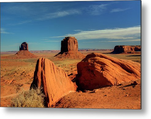 Monument Valley Metal Print featuring the photograph Sandstone Near And Far by Paul Cannon
