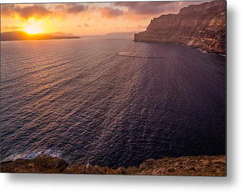 Island Metal Print featuring the photograph Santorini Caldera Sunset by BBrave Photo