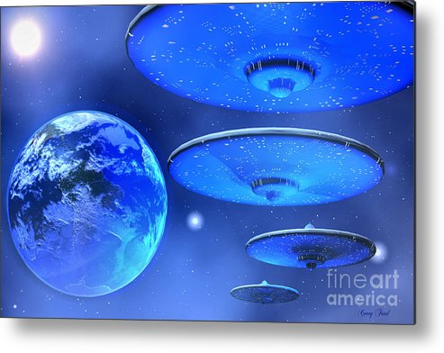 Space Art Metal Print featuring the painting Saucers by Corey Ford