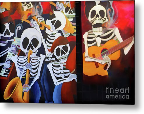 Dia De Los Muertos Metal Print featuring the photograph Sax Guitar Music Day Of The Dead by Chuck Kuhn