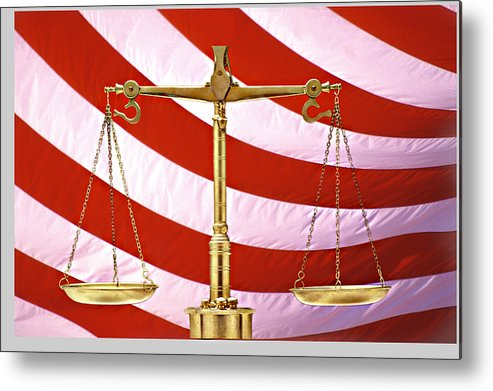 Photography Metal Print featuring the photograph Scales Of Justice American Flag by Panoramic Images
