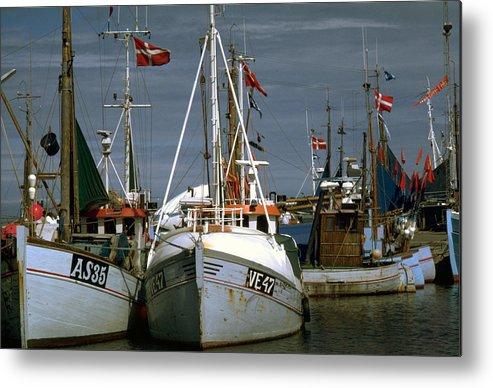 Scandinavian Metal Print featuring the photograph Scandinavian Fisher Boats by Flavia Westerwelle