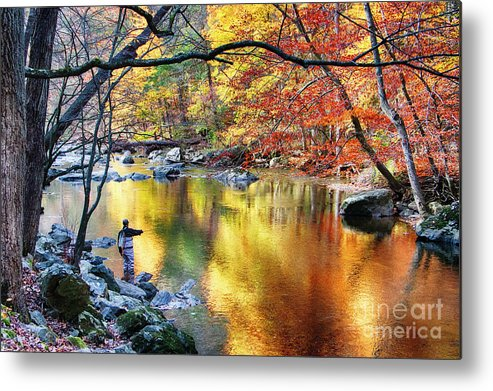 Ken Lockwood Gorge Metal Print featuring the photograph Scenic New Jersey Fall Fly Fishing by George Oze