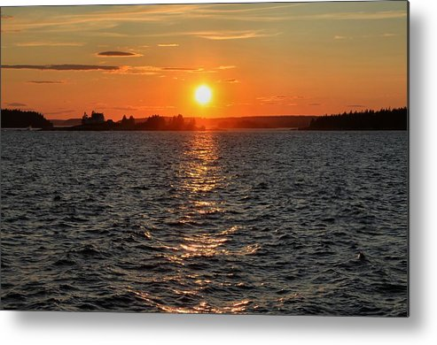 Maine Metal Print featuring the photograph Schoodic Sunset With Island Lighthouse by Scott Bricker