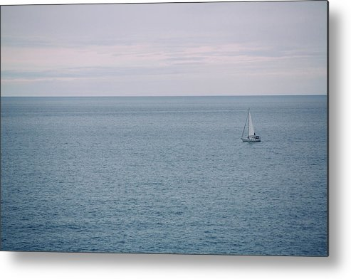 Sail Metal Print featuring the photograph Sea Landscape With Alone Sailboat In Garda by Halit BASOGUL