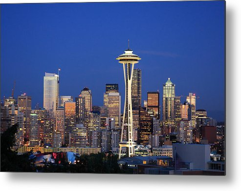3scape Photos Metal Print featuring the photograph Seattle At Dusk by Adam Romanowicz