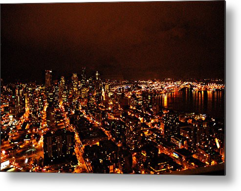 Seattle At Night Metal Print featuring the photograph Seattle by Davida Parker