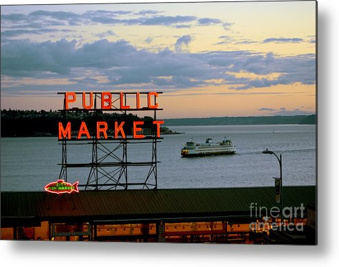 Seattle Metal Print featuring the photograph Seattle Ferry At Dusk by Ed Rooney