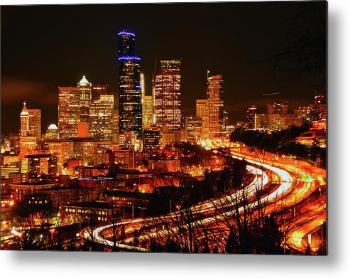 Seattle Metal Print featuring the photograph Seattle Night Traffic by Brian O'Kelly