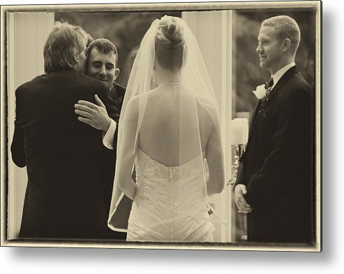 Vintage Metal Print featuring the photograph Sepia 3 Wedding Couple Example by David Patterson