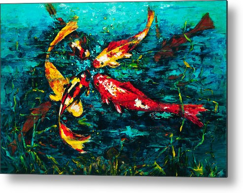 Koy Metal Print featuring the painting Seven Koi by Mary DuCharme