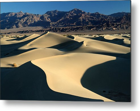 Death Valley Metal Print featuring the photograph Shadows And Light On The Sand Dunes by Pierre Leclerc Photography
