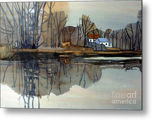 Plein Air Metal Print featuring the painting Shark River Reflections by Donald Maier