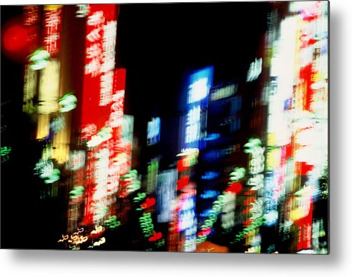 Neon Metal Print featuring the photograph Shinjuku Abstraction by Brad Rickerby
