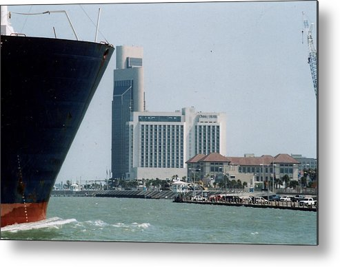 Marine Metal Print featuring the photograph Ship And Shoreline by Wendell Baggett