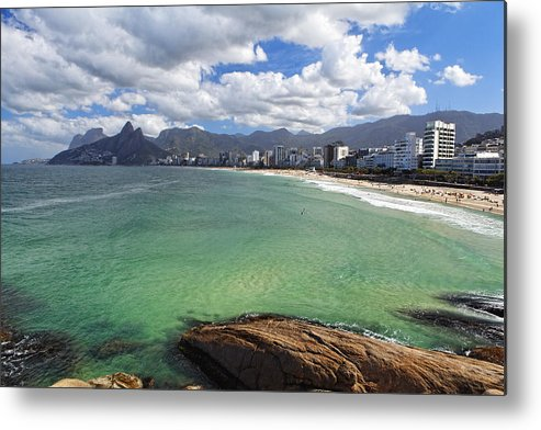 Bathing Metal Print featuring the photograph Shoreline Of Ipanema by George Oze