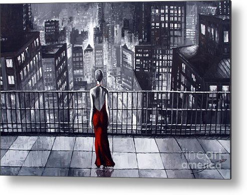 Oil Metal Print featuring the painting Sincity by Yuriy Shevchuk