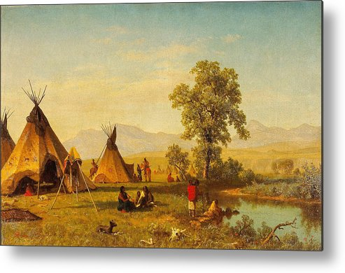 American Metal Print Featuring The Painting Sioux Village Near Fort Laramie    Native Indian Wall Art