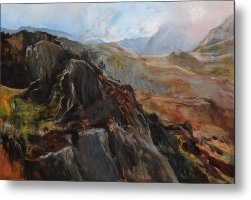 Landscape Metal Print featuring the painting Sketch In Snowdonia by Harry Robertson