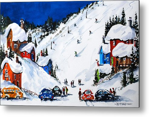 Spoprts Winter Skiing Metal Print featuring the painting Ski Day At Osler by Wilfred McOstrich