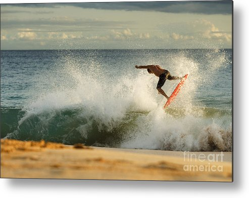 Action Metal Print featuring the photograph Skimboarding - Makena by MakenaStockMedia - Printscapes