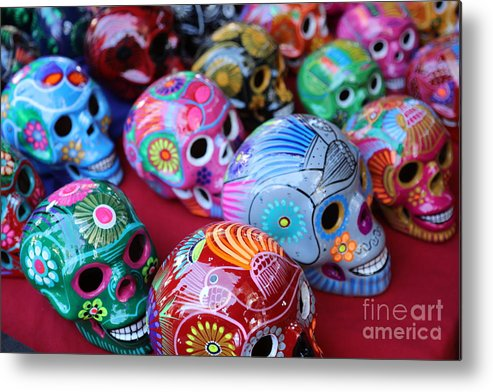 Dia De Los Muertos Metal Print featuring the photograph Skulls Day Of The Dead by Chuck Kuhn