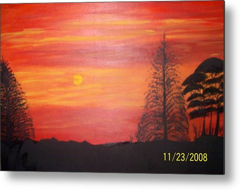 Landscape Metal Print featuring the painting Sky On Fire by Paula Ferguson