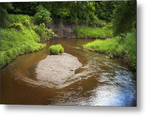 Unique Metal Print featuring the photograph Slow River In Deep Forest Landscape by Donald Erickson