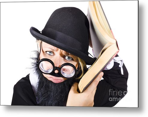 Information Metal Print featuring the photograph Smart Woman Researching Info by Jorgo Photography - Wall Art Gallery