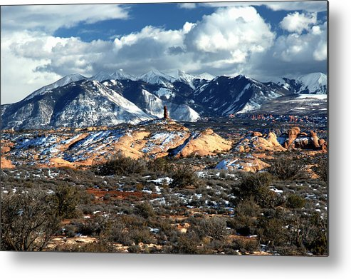 Arches National Park Metal Print featuring the photograph Snow Covered Utah Mountain Range by Paul Cannon