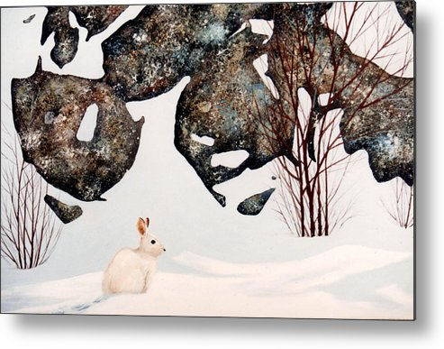 Wildlife Metal Print featuring the painting Snow Ledges Rabbit by Frank Wilson