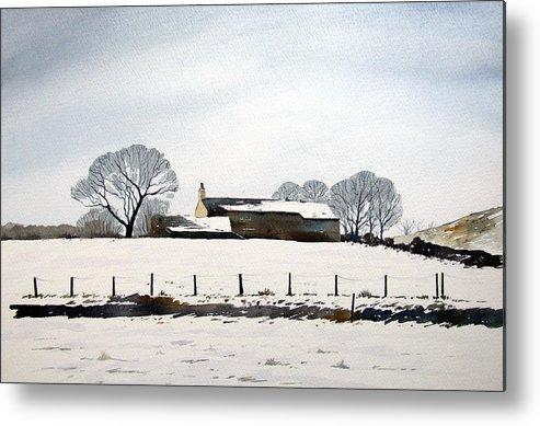 Winter Scene Metal Print featuring the painting Snow Scene Barkisland by Paul Dene Marlor