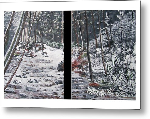 Forest Metal Print featuring the painting Snowy Stream by Ellie Swofford