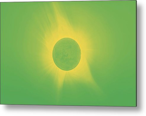 Sun Metal Print featuring the painting Solar Eclipse In Totality 9 by Celestial Images