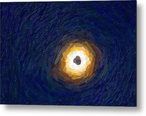 Sun Metal Print featuring the painting Solar Eclipse In Totality Painting by Celestial Images