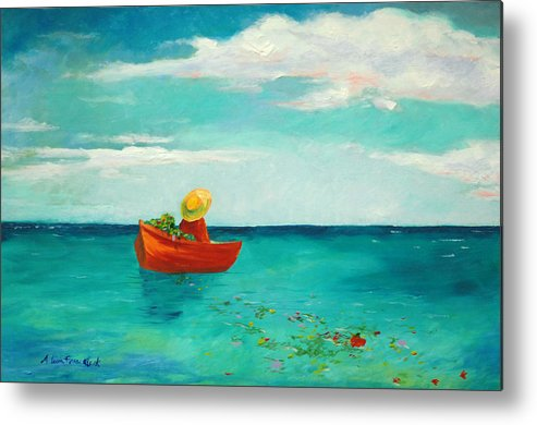Landscape Metal Print featuring the painting Solitude And The Sea by Alicia Frese Klenk
