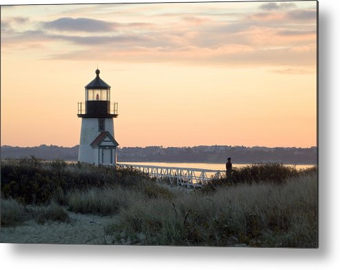 Nantucket Metal Print featuring the photograph Solitude At Brant Point Light Nantucket by Henry Krauzyk