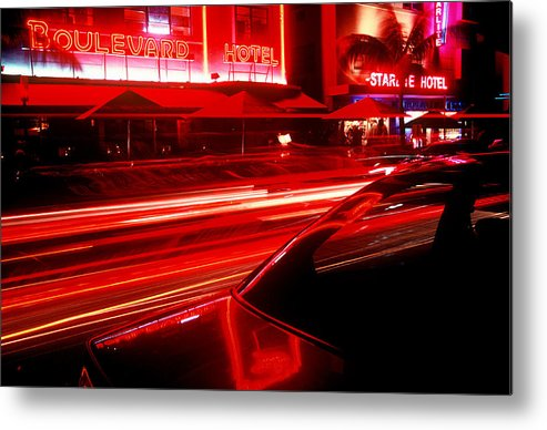 Neon Metal Print featuring the photograph South Beach Red by Brad Rickerby