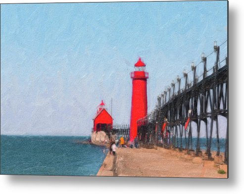 Michigan Metal Print featuring the photograph South Pier Of Grand Haven by Tom Mc Nemar