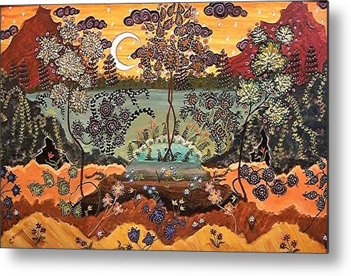 Autumn Colors Metal Print featuring the painting Southern Dreamscape by Caroline Urbania Naeem