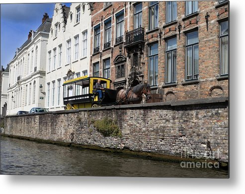 Spieglerei Metal Print featuring the photograph Spieglerei Canal In Bruges Belgium by Louise Heusinkveld